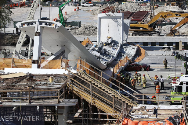 Footbridge collapses in Miami, killing four